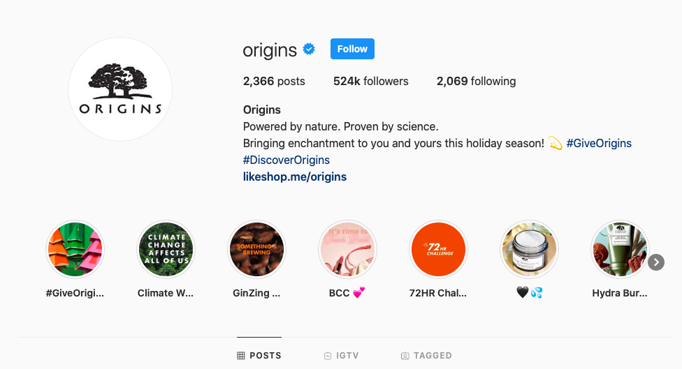 Origins Instagram